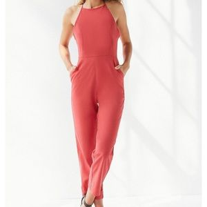 Urban Outfitters High Neck Linen Jumpsuit in Coral